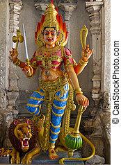 durga, diosa hindú, león