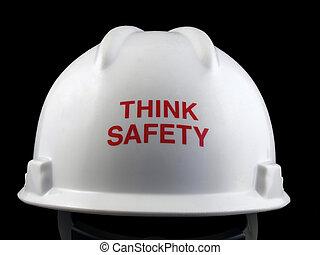 duro, pensar, sombrero, seguridad