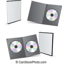 dvd, cajas, vector, 3d