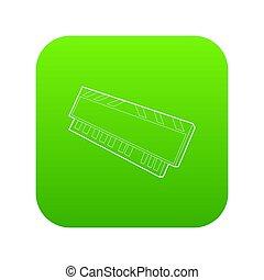 dvd personal, carnero, módulo, computadora, verde, icono