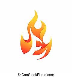 e, carta, fuego, logotipo, diseño