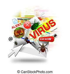 E-mail de virus de Internet en blanco