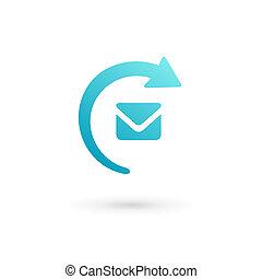 E-mail sobre flecha logo icono