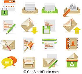 e-mail, vector, conjunto, icono