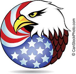 Eagle tenía y bandera de América