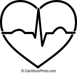 ecg, corazón, negro, blanco, mínimo, icono