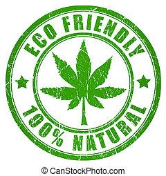eco, cannabis, amistoso, estampilla