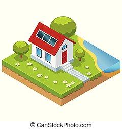 Eco-casa isométrica con células solares
