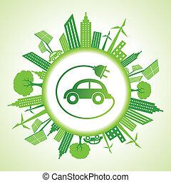 Eco Cityscape con coche eléctrico