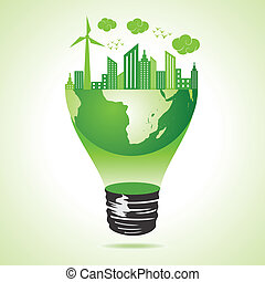 eco, ciudad, concepto, tierra verde