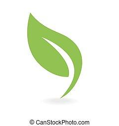 eco, icono, hoja verde