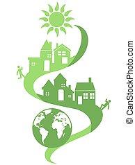 eco, natural, comunidad, plano de fondo