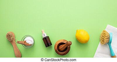 eco, soda, plano de fondo, vinagre, limón, limpieza, productos