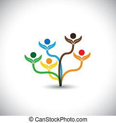 Eco vector icono - árbol familiar y concepto de trabajo en equipo.