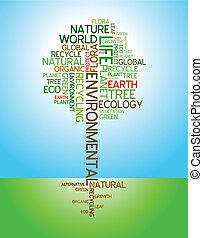 ecología, ambiental, -, cartel