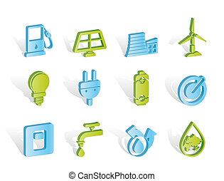 Ecología, energía y iconos de energía