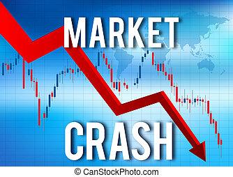 económico, financiero, desplome, mercado, choque