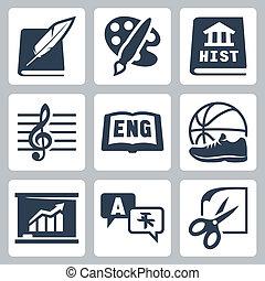 economía, escuela, iconos, historia, idiomas, extranjero, pe, vector, inglés, artes, música, temas, literatura, arte, set: