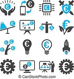 Economía europea y iconos de herramientas de servicio