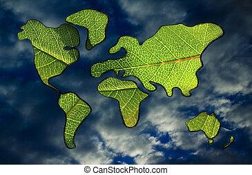 economía verde, mapa mundial cubierto por hojas verdes