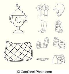 ecuestre, caballo, símbolo., vector, colección, diseño, acción, a caballo, illustration.
