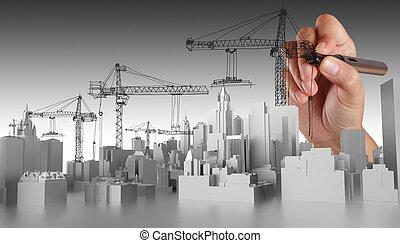 Edificio abstracto a mano