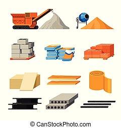 edificio, aislado, o, batidora, iconos, materiales, concreto, camión
