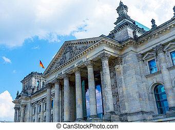 edificio, alemán, berlín, bandera, reichstag