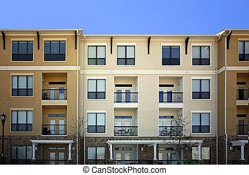edificio, apartamento, (condo), lujo