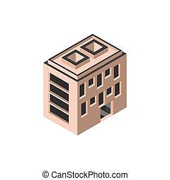 edificio, apartamentos, hotel, estilo, isométrico
