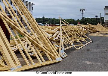 edificio, apilado, madera, materiales, casa