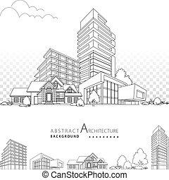 edificio, arquitectura, 3d, decorativo, ilustración, design.