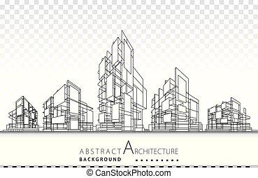 edificio, arquitectura, 3d, ilustración, design., construcción