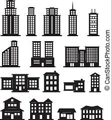 edificio, blanco, negro