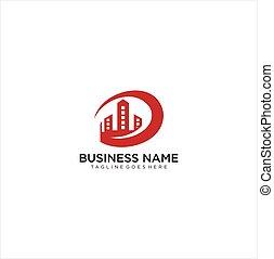 edificio, círculo, logotipo, diseño, construcción