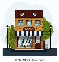 edificio, calle, caso, llenado, luces, vector, verde, plano, mu, europeo, ladrillo, rayado, libros, grande, agradable, dosel, dos -story, ilustración, exhibición, bookstore., árboles.