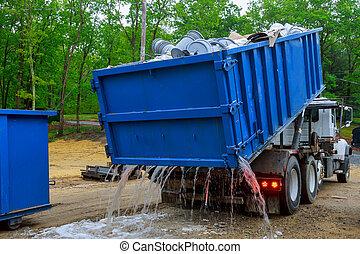 edificio, camión, sitio., material, utilizado, lleno, reciclaje, trabajo, carga, construcción, nuevo
