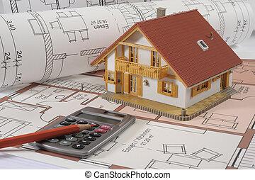 edificio, casa, cianotipo