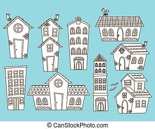 edificio, casa, conjunto, caricatura