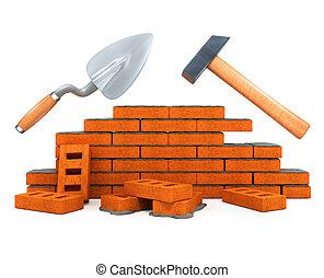 edificio, casa, herramienta, darby, aislado, construcción, martillo