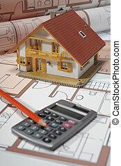 edificio, casa, modelo, arquitectura