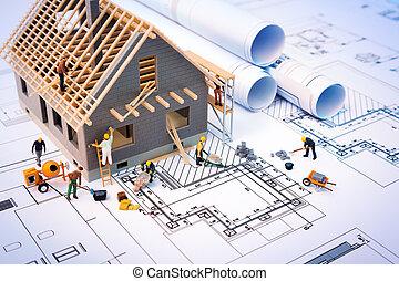 edificio, casa, planos