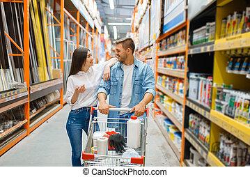 edificio, compra, carrito, pareja, materiales