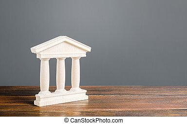edificio, concepto, o, antigüedad, library., banca, tribunal, ciudad, pilares, estatuilla, banco, pueblo, government., parte, universidad, arquitectónico, educación, viejo, style., administración, monumento, blanco