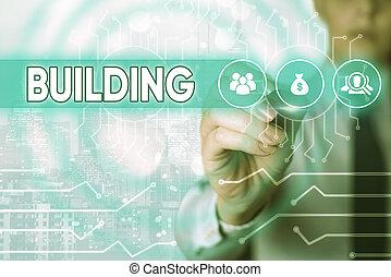 edificio., concepto, structure., materiales, empresa / negocio, arte, escritura, palabra, texto, o, el montar