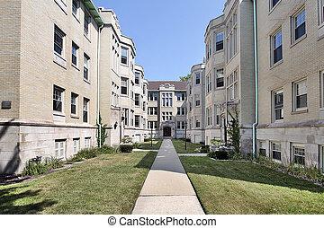 edificio, condominio, largo, sendero