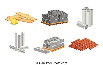 edificio, conjunto, como, vector, construcción, profiled, materiales, bloques, metal