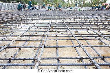 edificio, construido, construcción, piso, jaula, hierro, red, reforzar