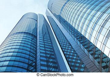 edificio, corporativo, ángulo, bajo, vista