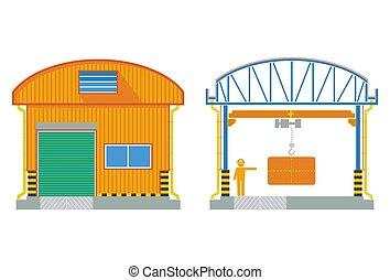 Edificio de Almacén, fábrica de sección cruzada, ilustración de vectores